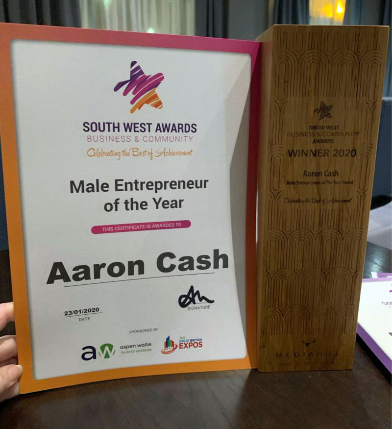 Finish Electrical Director, Aaron Cash, wins Male Entrepreneur of the Year at the South West Business Awards